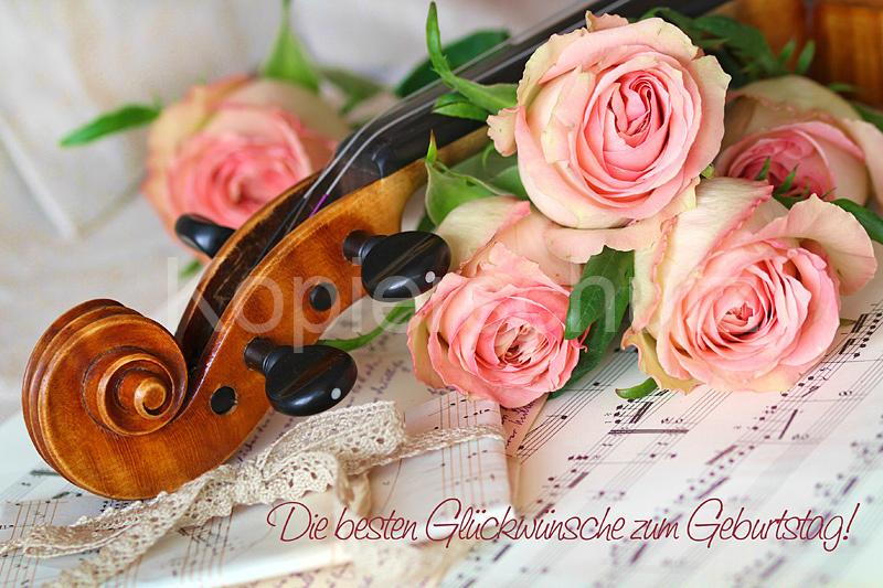 Geige und Noten, Geburtstagswünsche - www.Stimmungs-Bilder.de